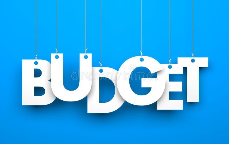 budgeter Ord på rader stock illustrationer