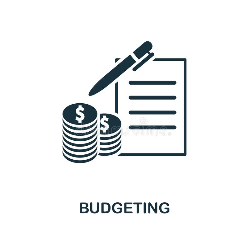 Budgeting icon. Line style icon design from personal finance icon collection. UI. Pictogram of budgeting icon. Ready to use in web royalty free illustration