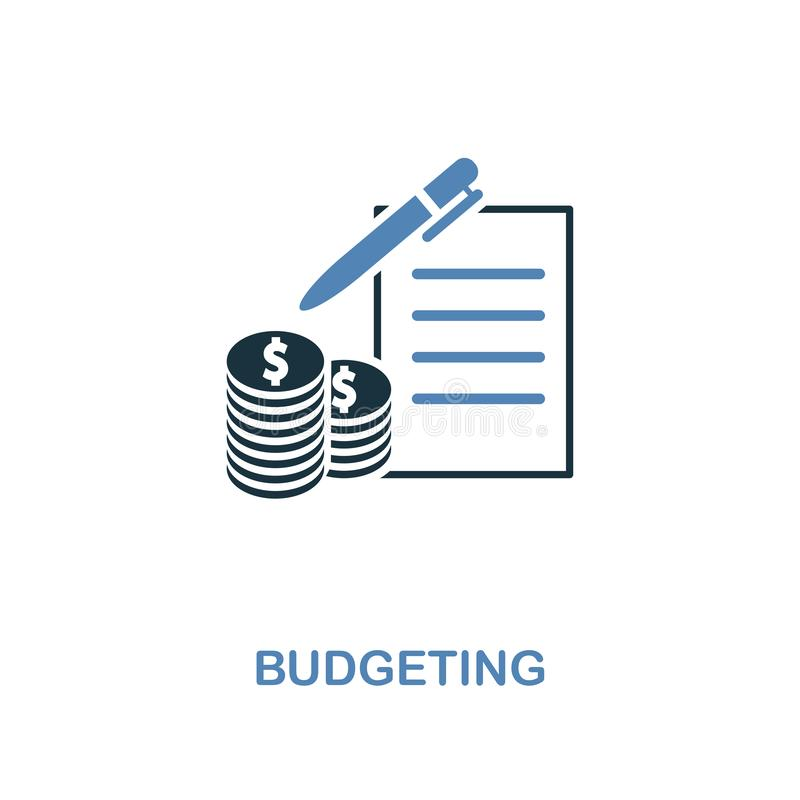 Budgeting icon in two colors design. Pixel perfect symbols from personal finance icon collection. UI and UX. Illustration of budge. Budgeting creative icon in royalty free illustration