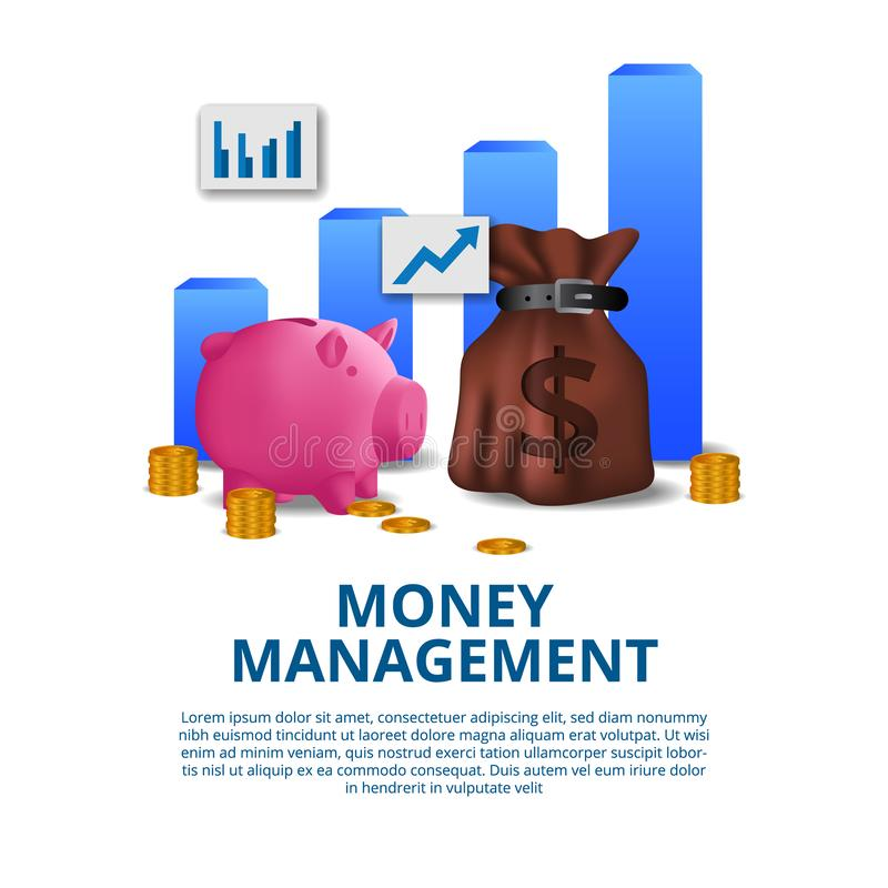 Budgeting money management financial concept with illustration of pink piggy bank, money bag, gold coin, and chart royalty free illustration
