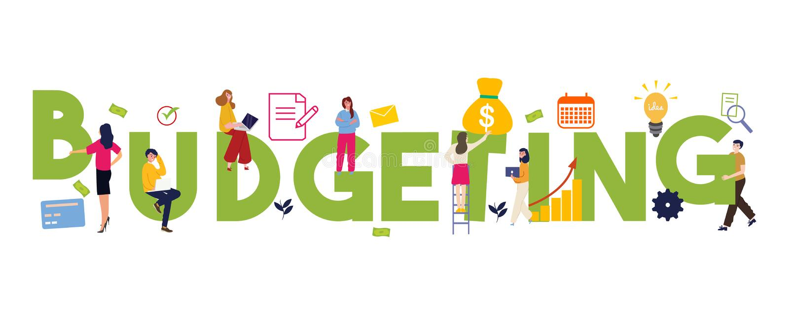 Budgeting word concepts of budget funding and financing. Financial planning. Isolated lettering typography idea with stock illustration