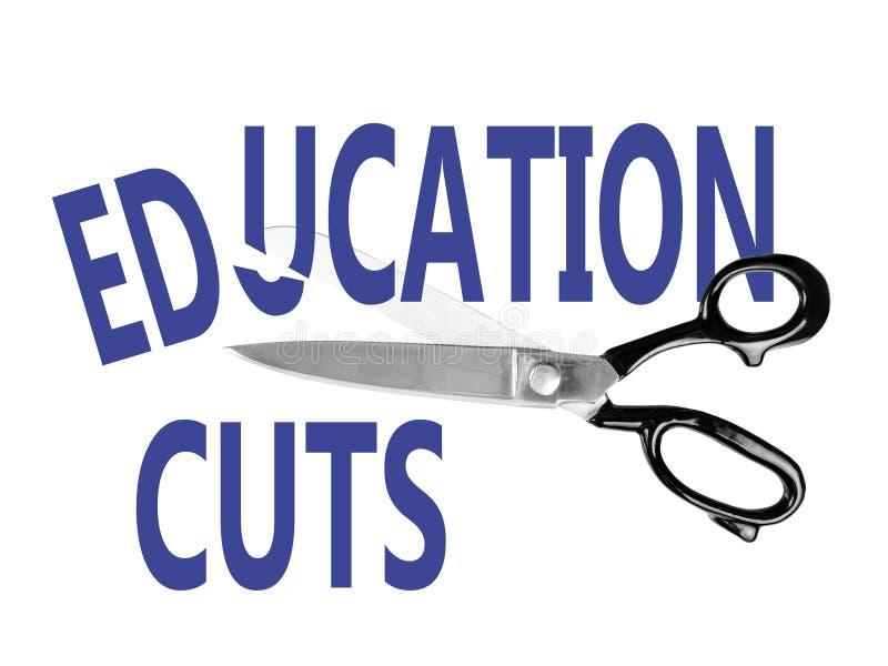 Budgetnedskärningar utbildning, med sax, på vit royaltyfria bilder