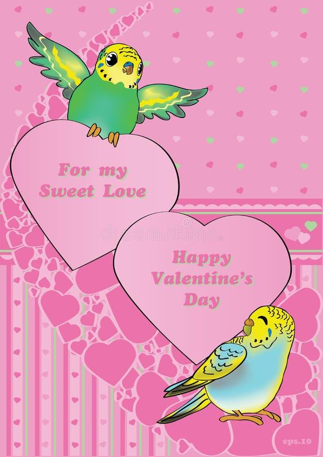 Budgies de la tarjeta del día de San Valentín fotos de archivo