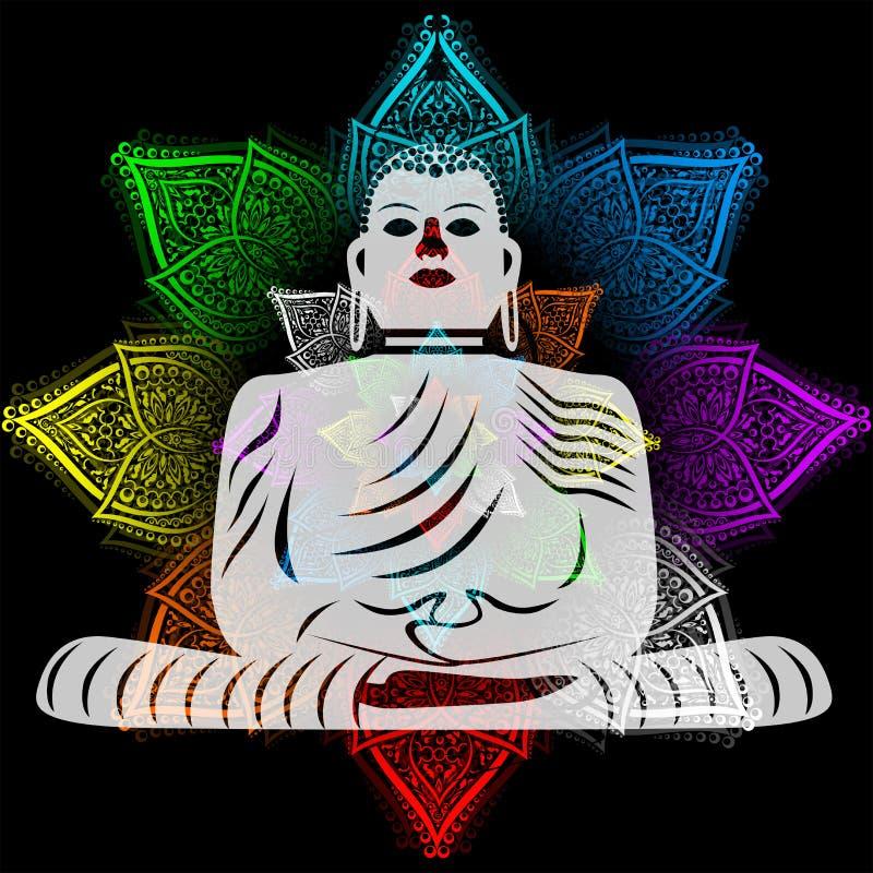 与Budha的例证在与花的瑜伽题材 向量例证