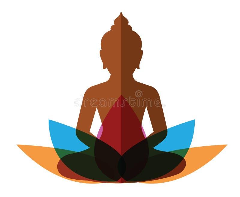 Budha di meditazione con loto illustrazione vettoriale