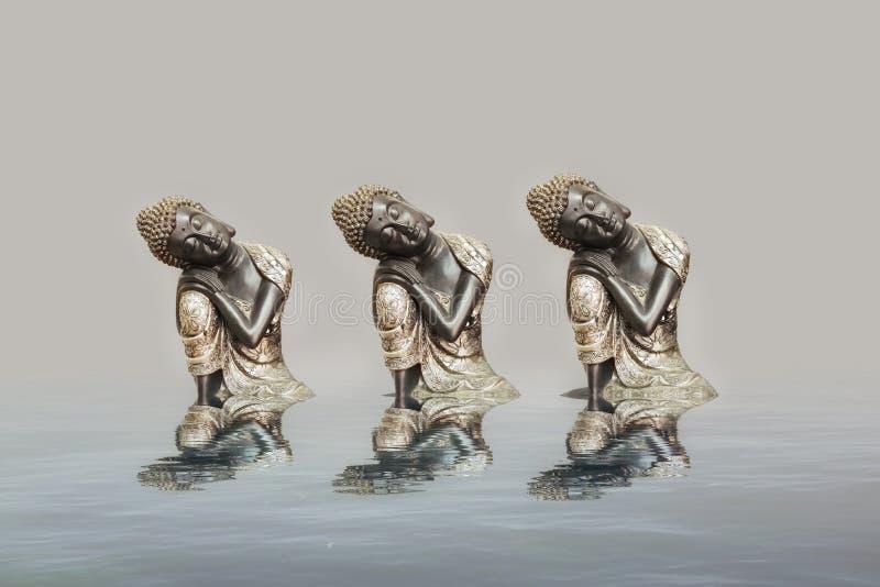 Budha que medita na reflex?o do mar ilustração royalty free