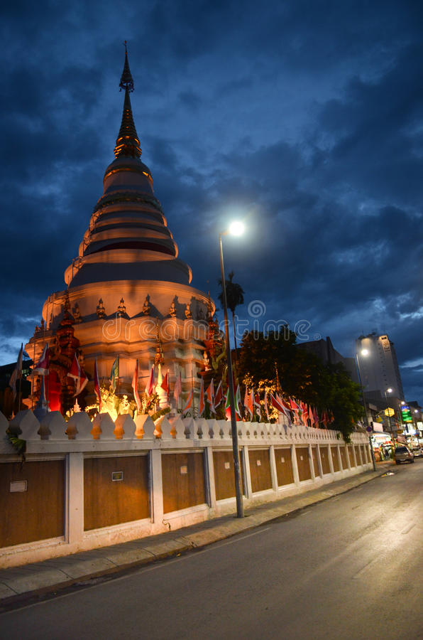 Budhist temple at night in Thailand stock photos