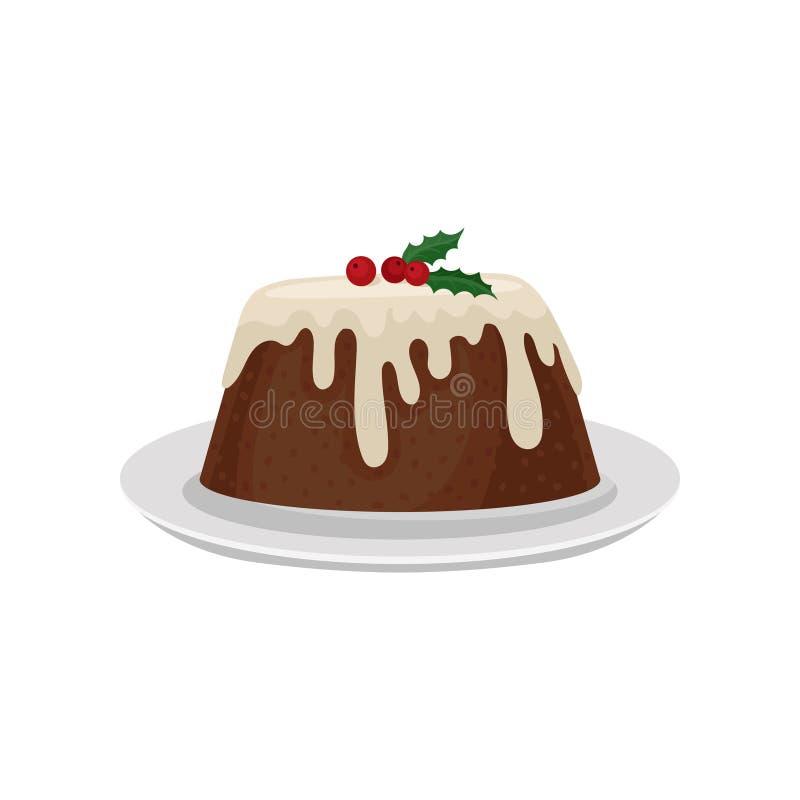 Budino di prugna di Natale decorato con il mirtillo rosso rosso Dessert tradizionale di cucina inglese Alimento dolce Vettore pia illustrazione di stock