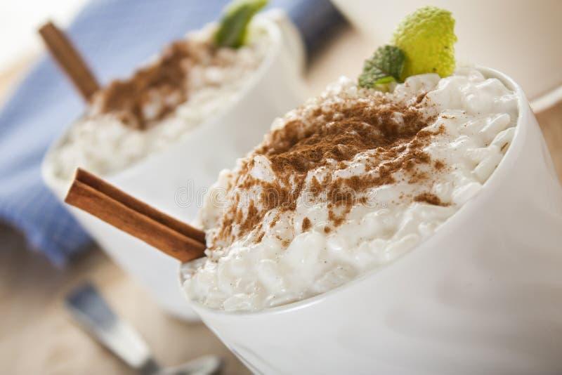 Budino di riso cremoso fotografia stock