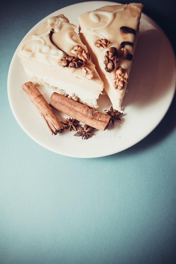 Budino di vaniglia con cannella fotografia stock libera da diritti
