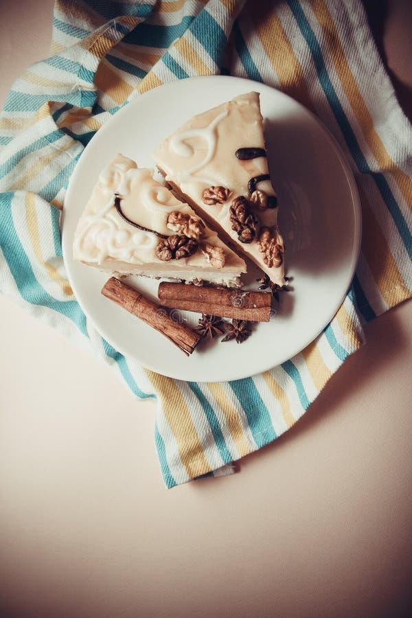 Budino di vaniglia con cannella fotografie stock