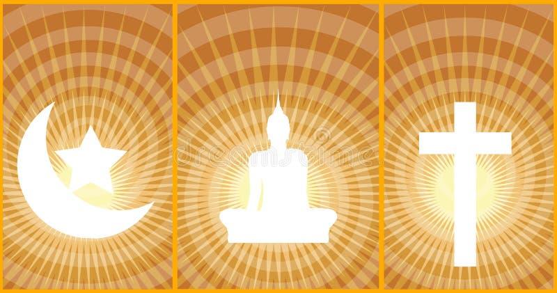 Budismo-Cristandade-Islã de três grande religiões ilustração royalty free
