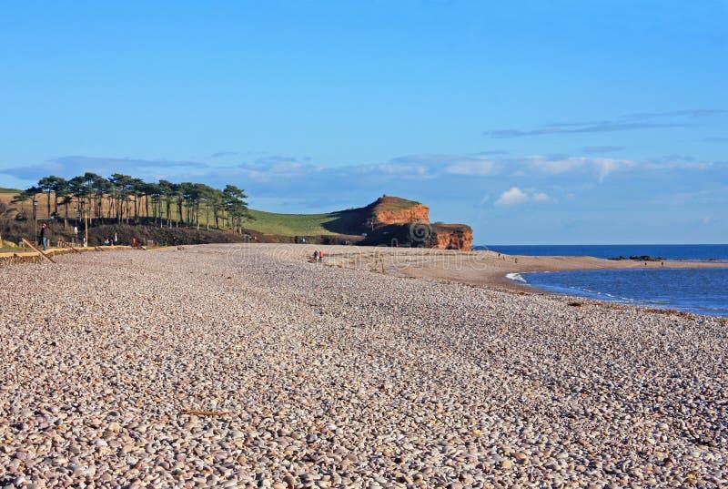 Budleigh Salterton海滩 免版税库存照片