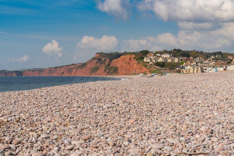 Budleigh Salterton, costa jurásica, Devon, Reino Unido imagenes de archivo