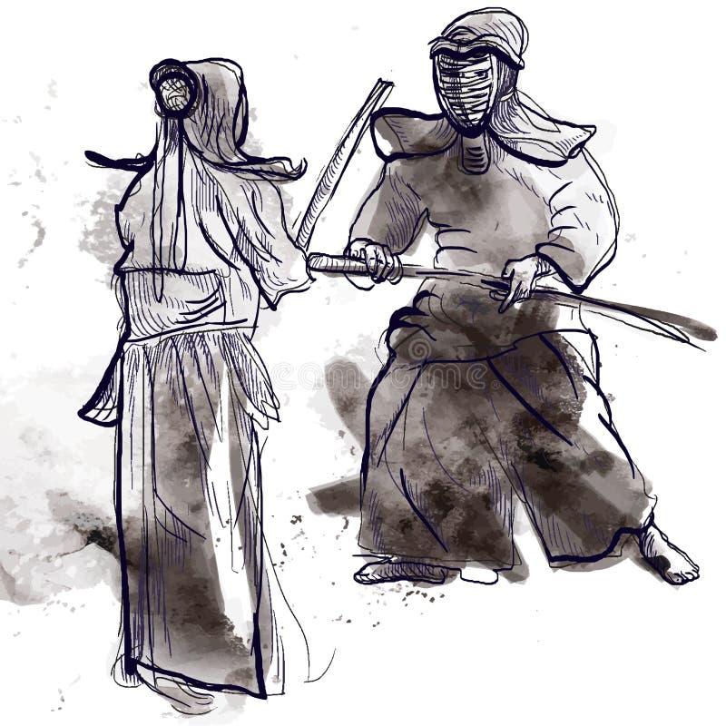 Download Budo warriors stock vector. Image of combat, japan, japanese - 28814341