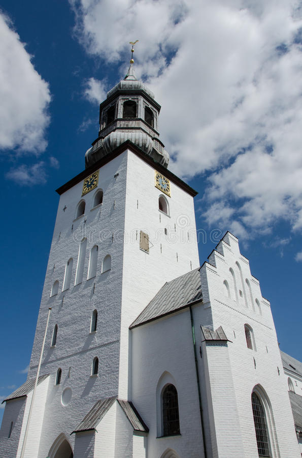 Budolfi cathedral, Aalborg, Denmark. The white tower of Budolfi cathedral, Aalborg, Denmark royalty free stock photography