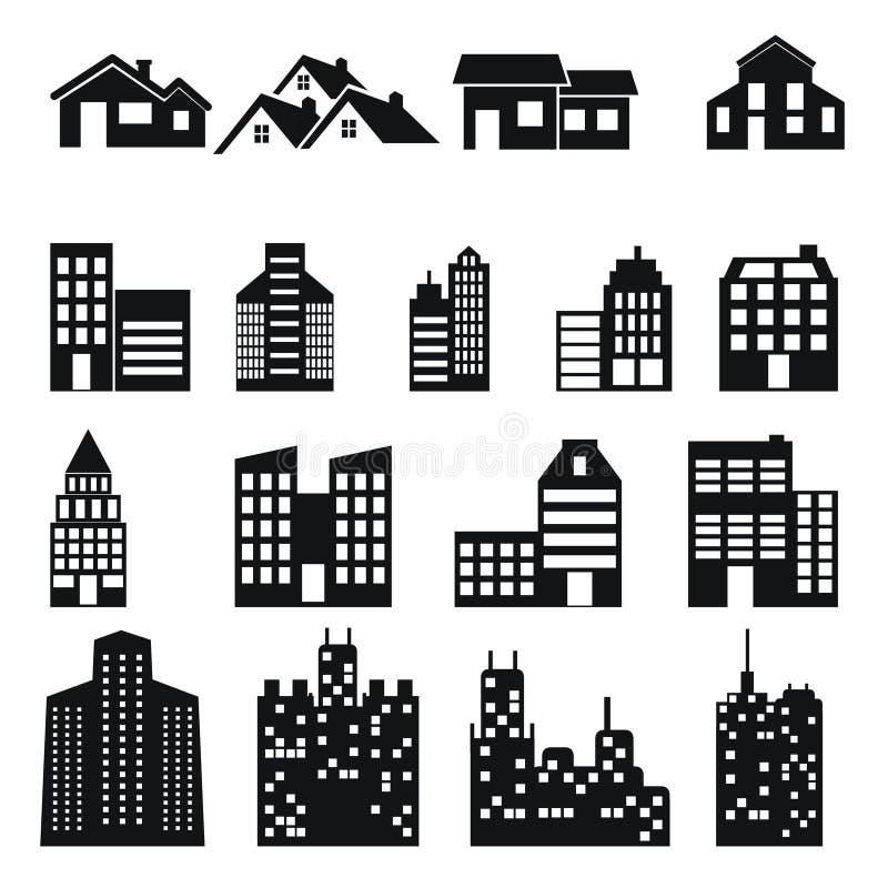 Budować i domowe ikony ustawiający ilustracja wektor