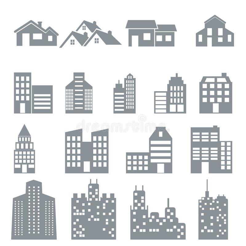 Budować i domowe ikony ustawiający fotografia royalty free