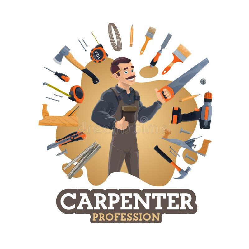 Budować instrumenty, cieśli pracownik, diy narzędzia ilustracja wektor
