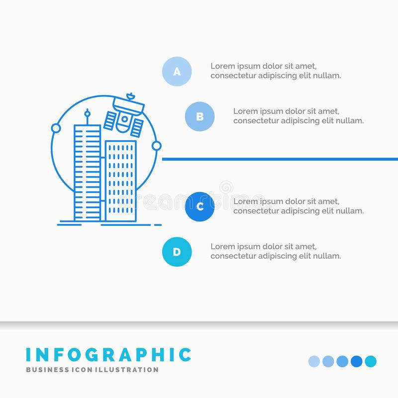 budować, mądrze miasto, technologia, satelita, korporacji Infographics szablon dla strony internetowej i prezentacja, Kreskowa B? royalty ilustracja
