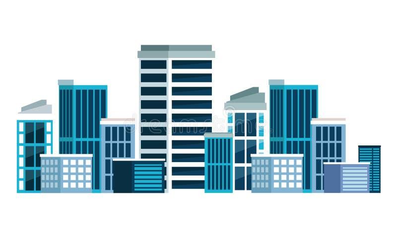 Budować miastową architektury ikony kreskówkę royalty ilustracja