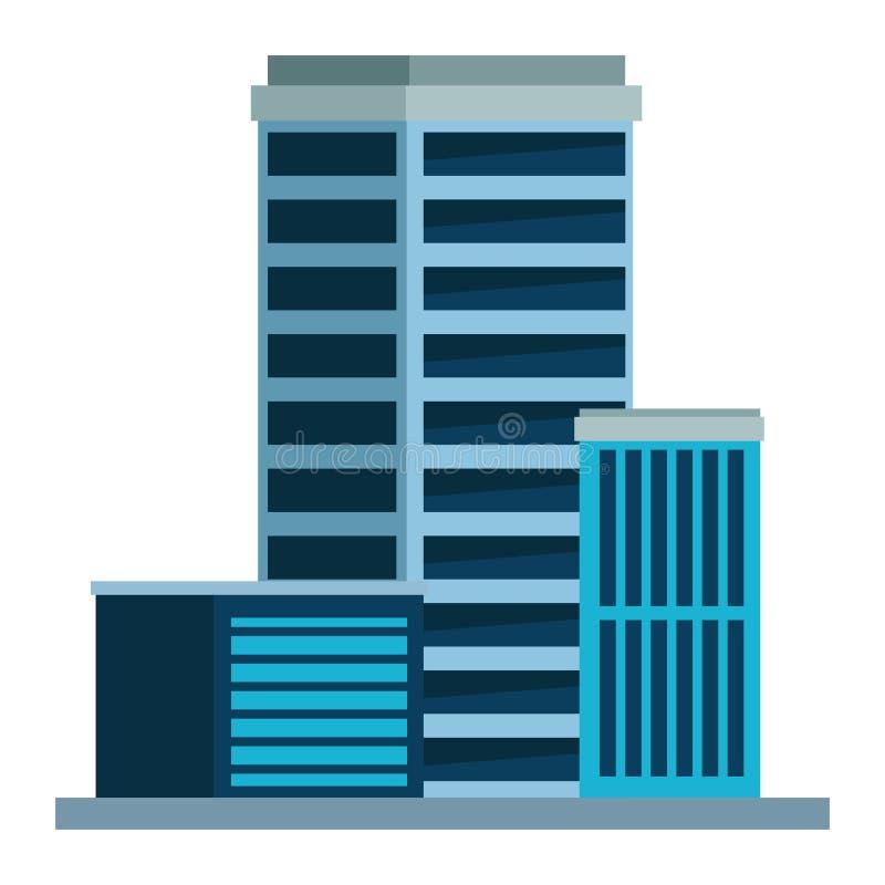Budować miastową architektury ikony kreskówkę ilustracji
