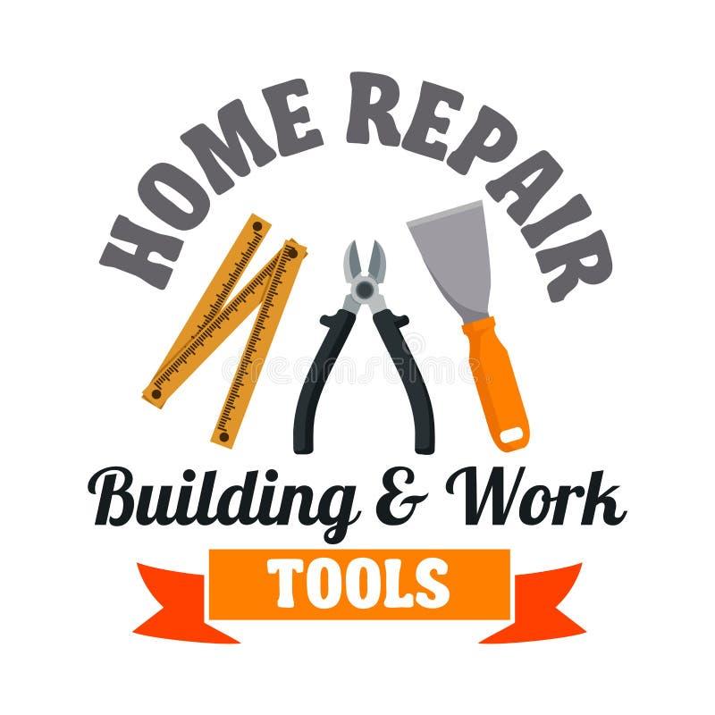 Budować narzędzie odznakę dla remontowej usługa projekta ilustracja wektor