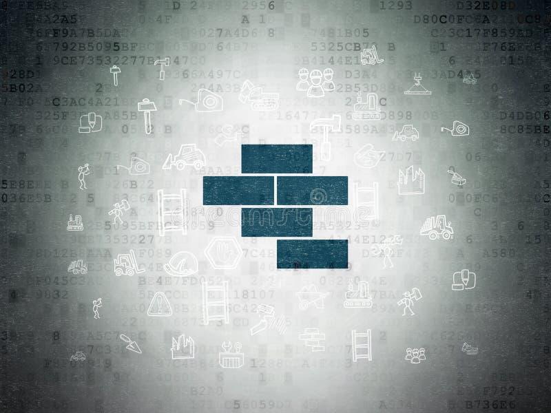 Budować pojęcie: Cegły na Cyfrowych dane papieru tle ilustracja wektor