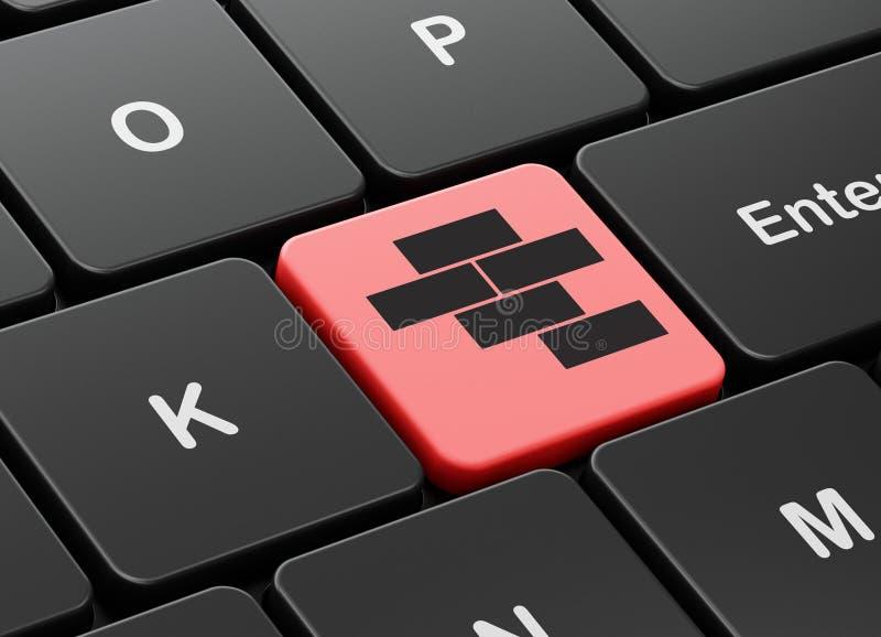 Budować pojęcie: Cegły na komputerowej klawiatury tle ilustracja wektor