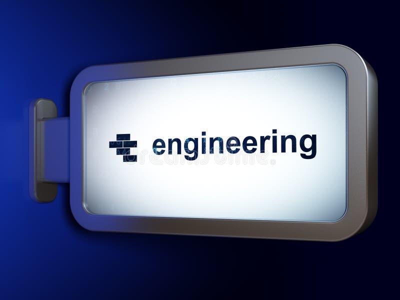 Budować pojęcie: Inżynieria i cegły na billboardu tle ilustracja wektor