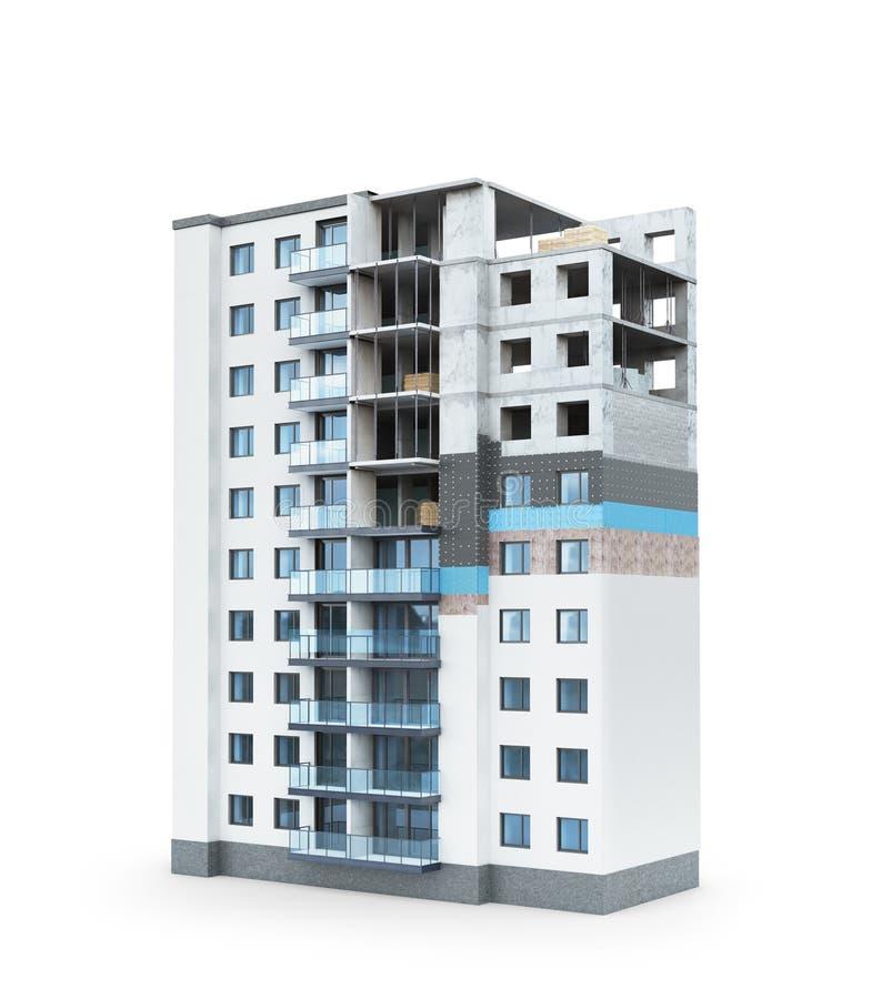 Budować Pojęcie budować mieszkaniowego dom plan grzać fasadę wieżowiec royalty ilustracja
