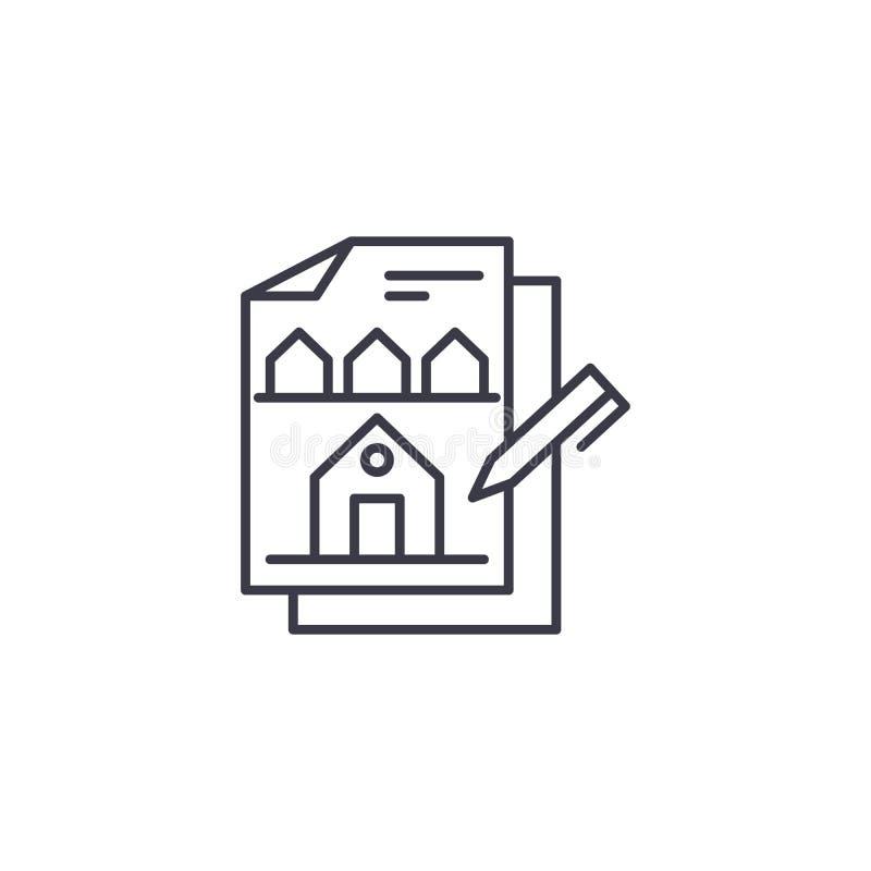 Budować projekt ikony liniowego pojęcie Budować projekta wektoru kreskowego znaka, symbol, ilustracja royalty ilustracja