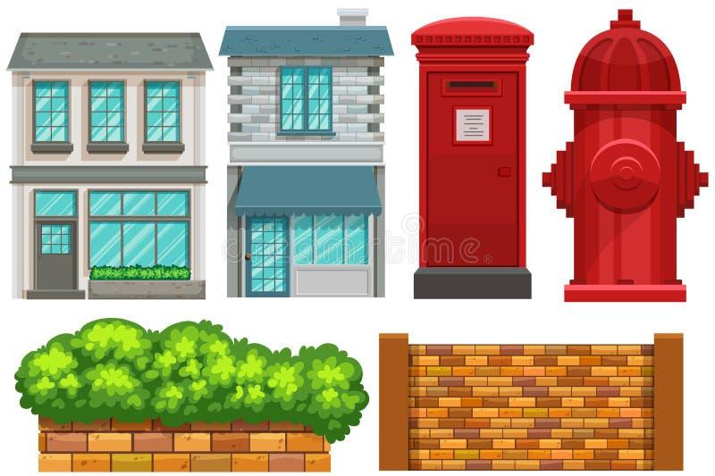 Budować projekt z ogrodzeniem i postbox royalty ilustracja