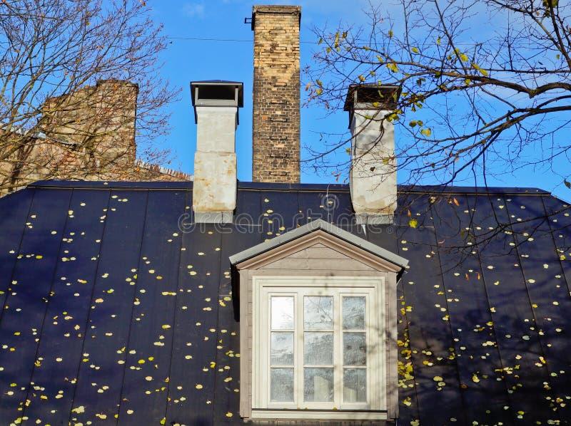 Budować z spadać liśćmi na dachu zdjęcia stock