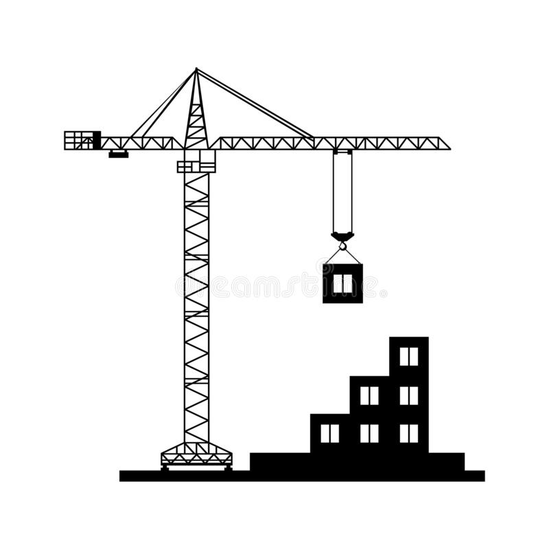 Budowa żuraw gromadzić budynek ikonę Czerń odizolowywający ilustracja wektor