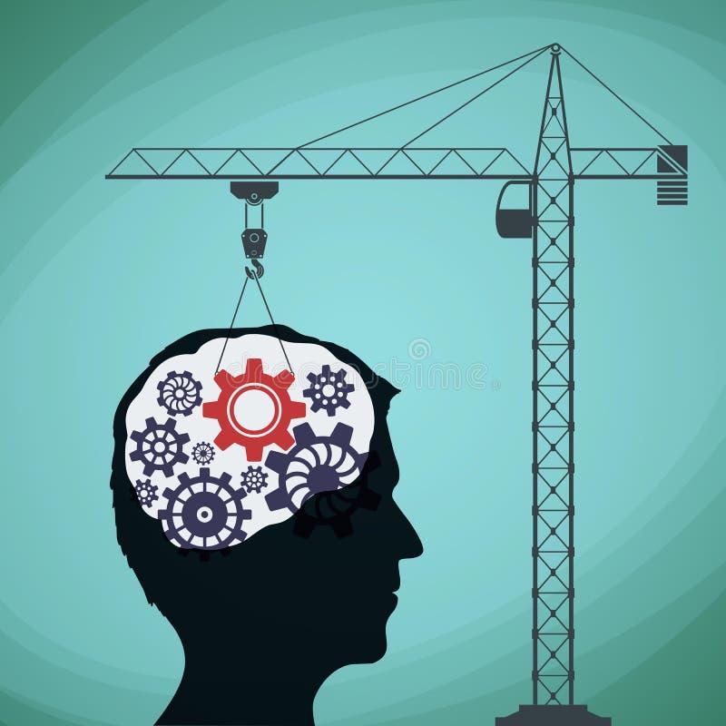Budowa żuraw z przekładnią i ludzką głową Akcyjny il ilustracji