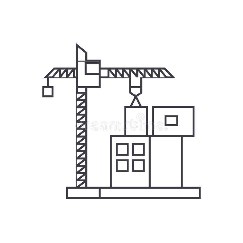 Budowa żurawia budynku ikony cienki kreskowy pojęcie Budowa żuraw buduje liniowego wektoru znaka, symbol, ilustracja ilustracji