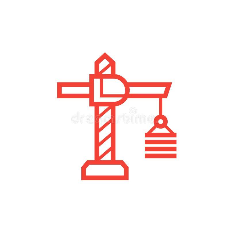 Budowa żurawia ikona na bielu, liniowy styl ilustracji