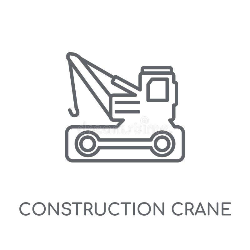 budowa żurawia liniowa ikona Nowożytny kontur budowy cran royalty ilustracja