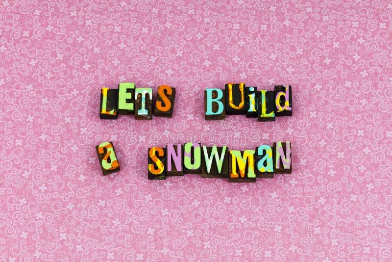 Budowa bałwanu zimy zabawy śnieżny letterpress obrazy royalty free