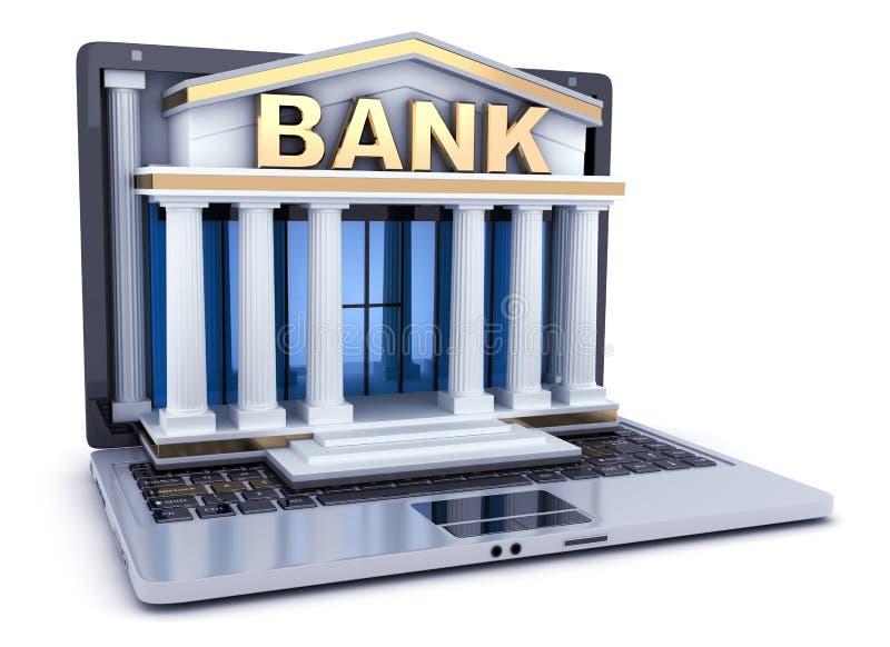 Budowa bank w laptopie ilustracji