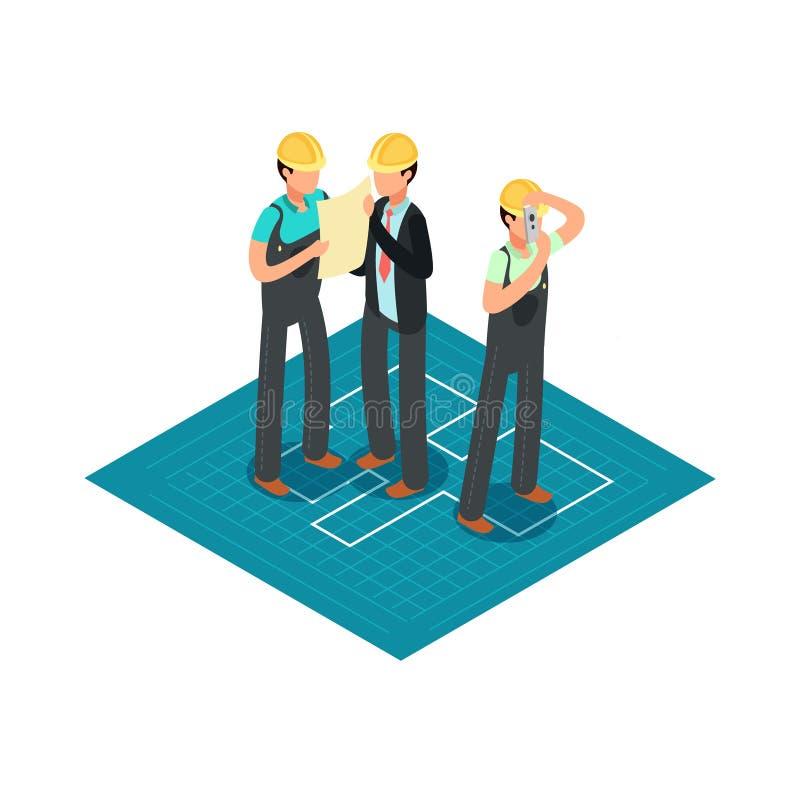 Budowa budowniczowie w żółtych zbawczych hełmach i inżyniery 3d architekta wektoru isometric pojęcie ilustracji