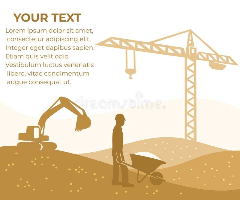 Budowa, budynek i budować, sztandar z twój tekstem Basztowy żuraw, ekskawator i budowniczy z wheelbarrow, wektorowy desi ilustracji