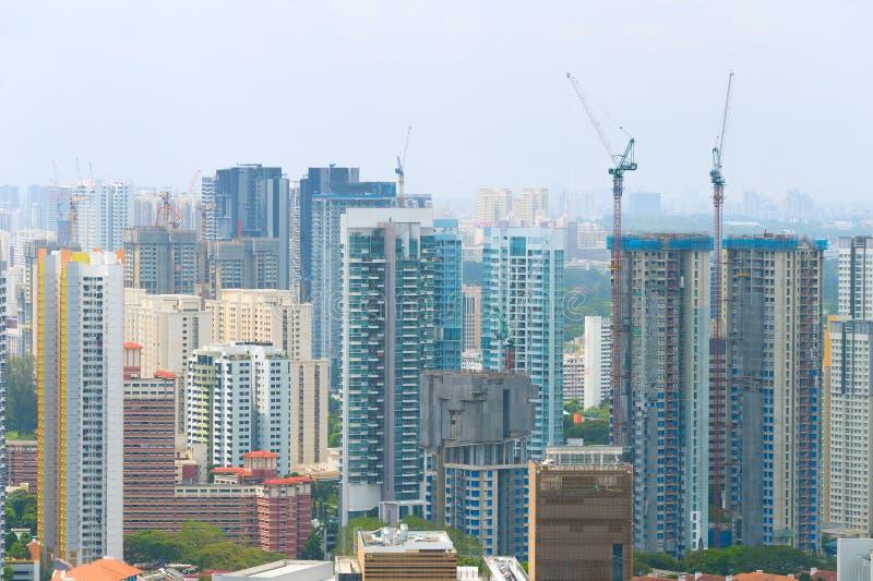 Budowa dźwigowi budynki Singapur zdjęcie royalty free