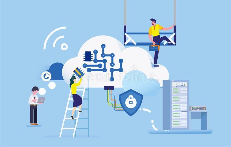 Budowa dane biznesowego biura strony internetowej ilustracja ilustracji