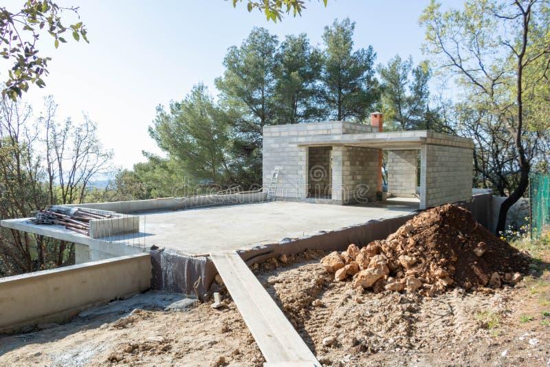Budowa dom, zbrojona betonowa płyta zdjęcie royalty free