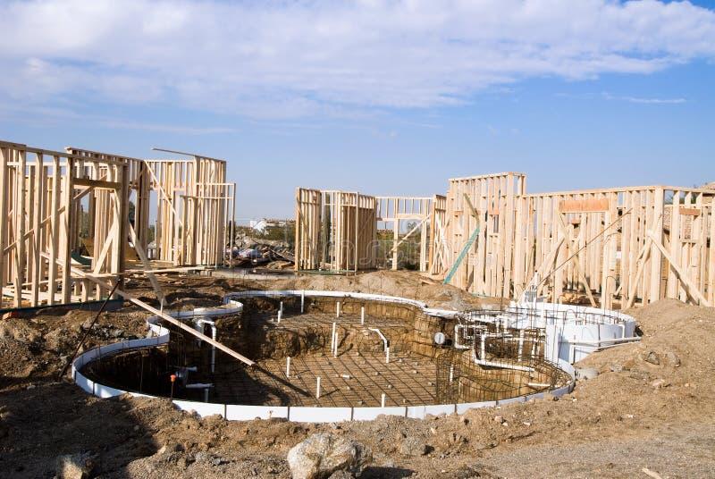 budowa domu basenu obraz royalty free