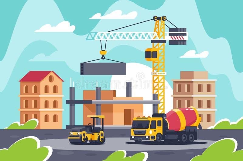 Budowa duży budynek z maszyny ciężkie, betonowy melanżer, drogowy rolownik, żuraw royalty ilustracja