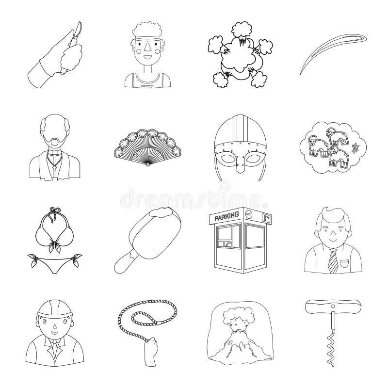 Budowa, finanse, medycyna i inna sieci ikona w konturze, projektujemy sport, transport, religii ikony w secie ilustracji