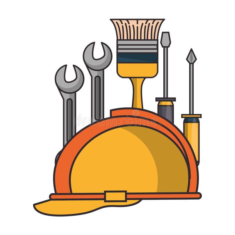 Budowa hełm z narzędziami ilustracji